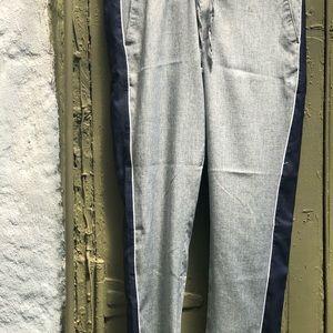 Boohoo man new gray drawstring pants w/navy stripe